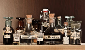 Various pharmacy bottles of homeopathic medicine stock photography