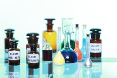Various pharmacy medicine bottles isolated Stock Image