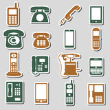Various phone symbols and icons stickers set eps10 Stock Images