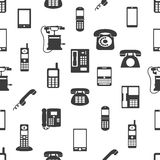 Various phones symbols and icons seamless pattern Royalty Free Stock Images