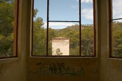 LANDSCAPE BY THE WINDOW. Various photographs of an abandoned sanitarium royalty free stock photo
