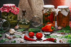 Various pickles and ingredients Royalty Free Stock Photos