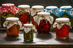 Various pickles in the pantry Stock Photography