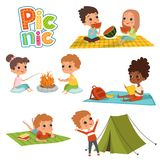 Various pictures of kids male and female have a rest on picnic. Summer lunch, camp and fire. Vector illustration Stock Photo