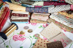 Various piece of fabric to make a quilt Royalty Free Stock Photos
