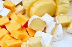 Various pieces of cheese. Is very close Royalty Free Stock Photography