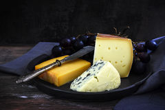 Various pieces of cheese and blue grapes on a dark rustic backgr Royalty Free Stock Photography