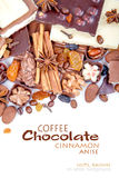 Various pieces of chocolate with nuts, raisins and coffee beans Royalty Free Stock Image