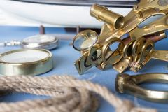 Nautical equipment. Various pieces of nautical equipment on blue background Stock Photos