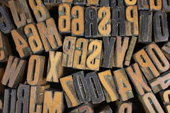 Various Pieces of Type. Scattered in a box Royalty Free Stock Photo