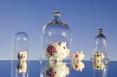 Various piggy-banks on mirror Stock Photography