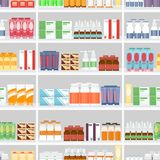 Various Pills and Drugs on Shelves Royalty Free Stock Photography