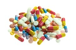 Various pills isolated on white background Royalty Free Stock Photo