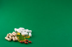 Various pills of supplement Royalty Free Stock Images