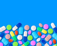 Various pills, tablets and capsules on blue background. Pharmaceutical medicine concept vector illustration