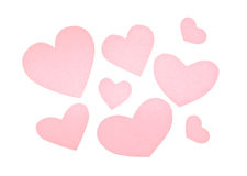 Various pink paper hearts Stock Photo