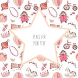 Various pink and red toys for kids. Seamless pattern. With big star with place for text. Vector illustration on white background. Hand drawn collection of pink royalty free illustration