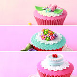 Various pinky and red cupcake, close up Royalty Free Stock Photo