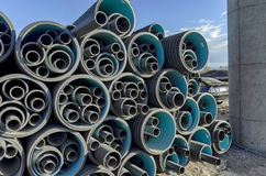 Various pipe deposit by new construction of road. Benkovski, Sofia, Bulgaria Stock Image