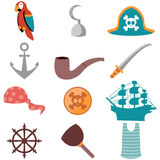 Various pirate icons vector illustration
