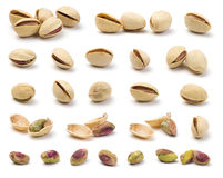 Various pistachios. Nuts in isolated white background stock image