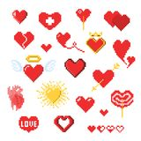 Various pixel heart icons isolated on white, Valentines day decor in pixel art style stock illustration