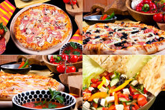 Various pizza and summer salad Stock Image