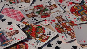 Various playing card background stock video