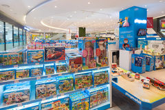 Various Playmobil toys at store, Seoul. SEOUL - MARCH 29, 2017: Playmobil toys at in the Hyundai IPark mall. Playmobil is a line of toys produced in Germany royalty free stock images