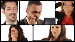Various portraits of people with worried expressions. Crisis metaphors stock video footage