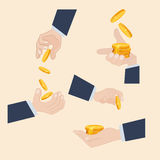 Various poses of a hand holding gold coins Stock Images