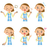 Various poses of the housewife Royalty Free Stock Photo