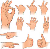 Various poses of human hands Royalty Free Stock Images