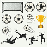 Various  poses of soccer players in silhouettes Royalty Free Stock Images
