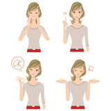 Various poses, woman of the expression Royalty Free Stock Photos