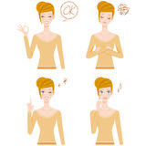 Various poses of the woman Stock Photos