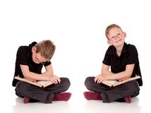 Various poses young child book Stock Photos