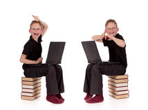 Various poses young child laptop Royalty Free Stock Images