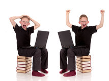 Various poses young child laptop Stock Image