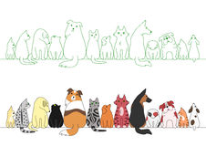 Various posing dogs and cats in a row Royalty Free Stock Photos