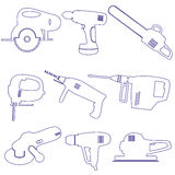 Various power tools outline icons set Royalty Free Stock Photo