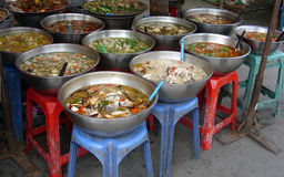 Various prepared food at Thai market Stock Photography