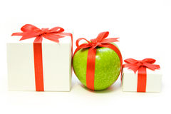 Various present. Uncommon  row present isolated on the white Stock Photos