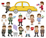 Various Profession People with Many Things Concepts. Cartoon Business People with Various Objects Concepts Vector Illustration Set stock illustration