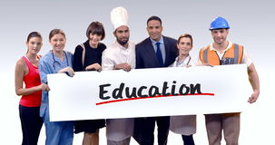 Various professional holding placard of education text. Portrait of various professional holding placard of education text against white background stock video footage