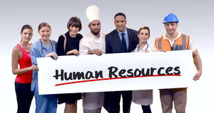 Various professional holding placard of human resources text stock video footage