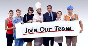 Various professional holding placard of join our team text stock video footage