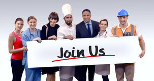 Various professional holding placard of join us text stock footage