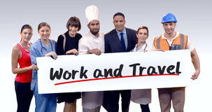Various professional holding placard of work and travel text. Portrait of various professional holding placard of work and travel against white background stock footage