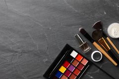Various professional make up tools and cosmetics Royalty Free Stock Images